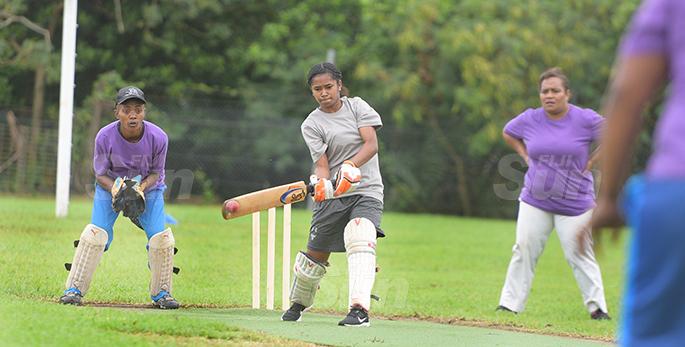 Northland Tailevu  batsman, Viniana Marama in action against Nadi during Fiji Cricket T-10 Bula womens competition at Bedesi Park in Suva on July 11, 2020. Photo: Ronald Kumar.