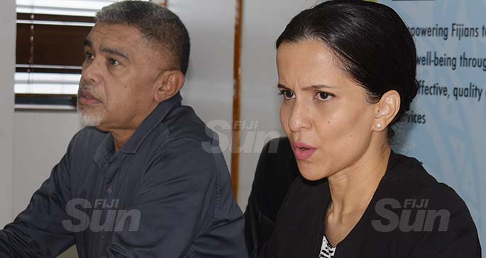 Ministry of Health Acting Permanent Secretary Dr James Fong (left) and Head of Health Protection Dr Aalisha Sahukhan, while confirming two more border quarantine COVID-19 cases bringing the total confirmed border quarantine cases to three on July 7, 2020. Photo: Ronald Kumar