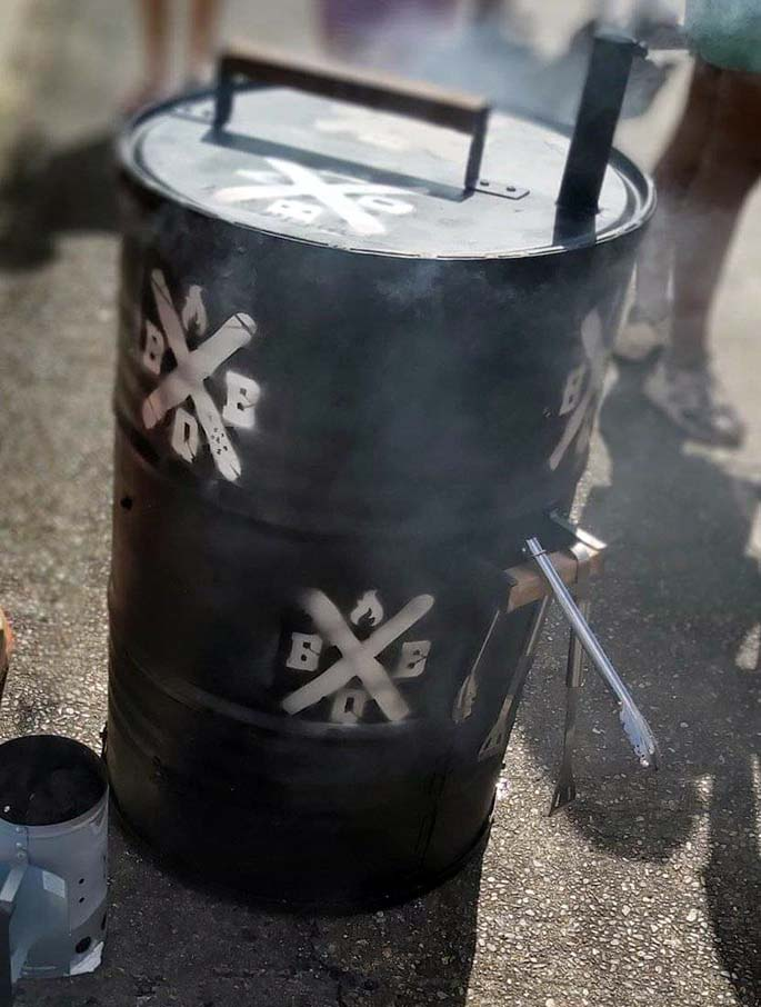 Drum smoker used by Spitroast Fiji