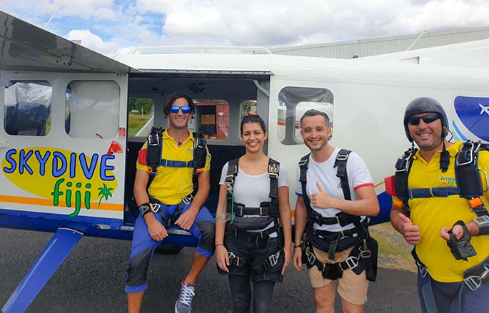 From left: Tandum instructor Sebastian Aresca, Anisa Bourkerehe, Thomas Belibio and instructor Calder Chernoff ready for another sky divng flight in Suva.