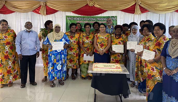 18 sewing and 10 cooking students graduated yesterday from Makoi Women's Vocational Training Centre.