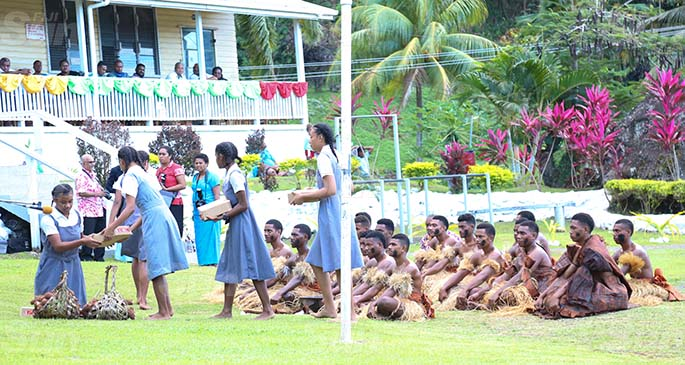 Levuka Public School senior students perform the traditional welcome for the Prime Minister Voreqe Bainimarama on July 14, 2020. Photo: Kelera Sovasiga