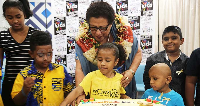 Mary Bainimarama with children under the WOWS Kids programme during the launch of the Child Cancer Month at Tanoa Plaza Hotel in Suva on July 24, 2020. Photo: Wati Talebula