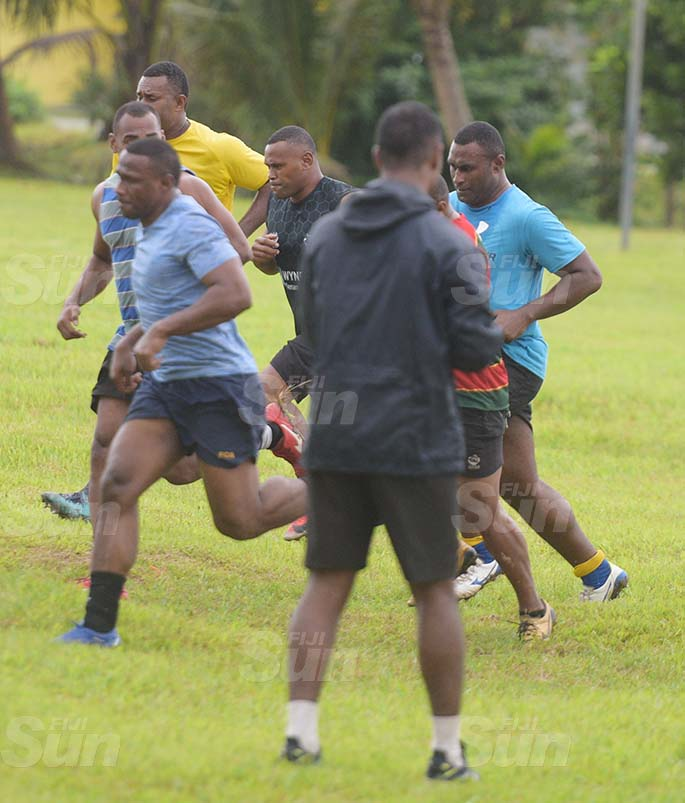 Amenoni Nasilasila (second from left) while training with the Namosi Rugby side at Grammar School ground on July 7, 2020. Photo: Ronald Kumar.