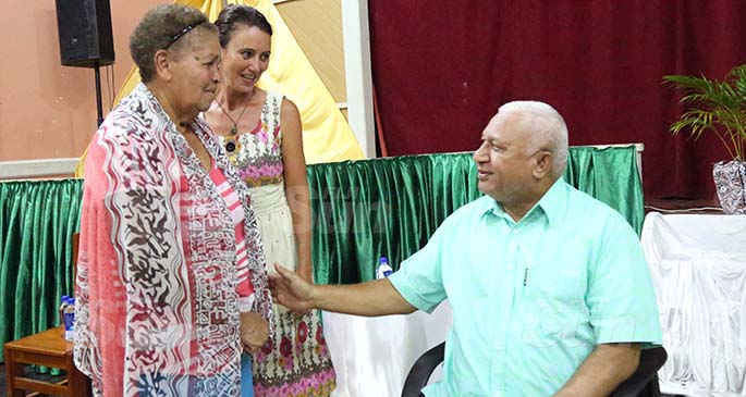 Prime Minister Voreqe Bainimarama with Kasa Sahai (left) and Shelly Douglas-Emberson at the Levuka Town Hall meeting on July 14, 2020. Photo: Kelera Sovasiga