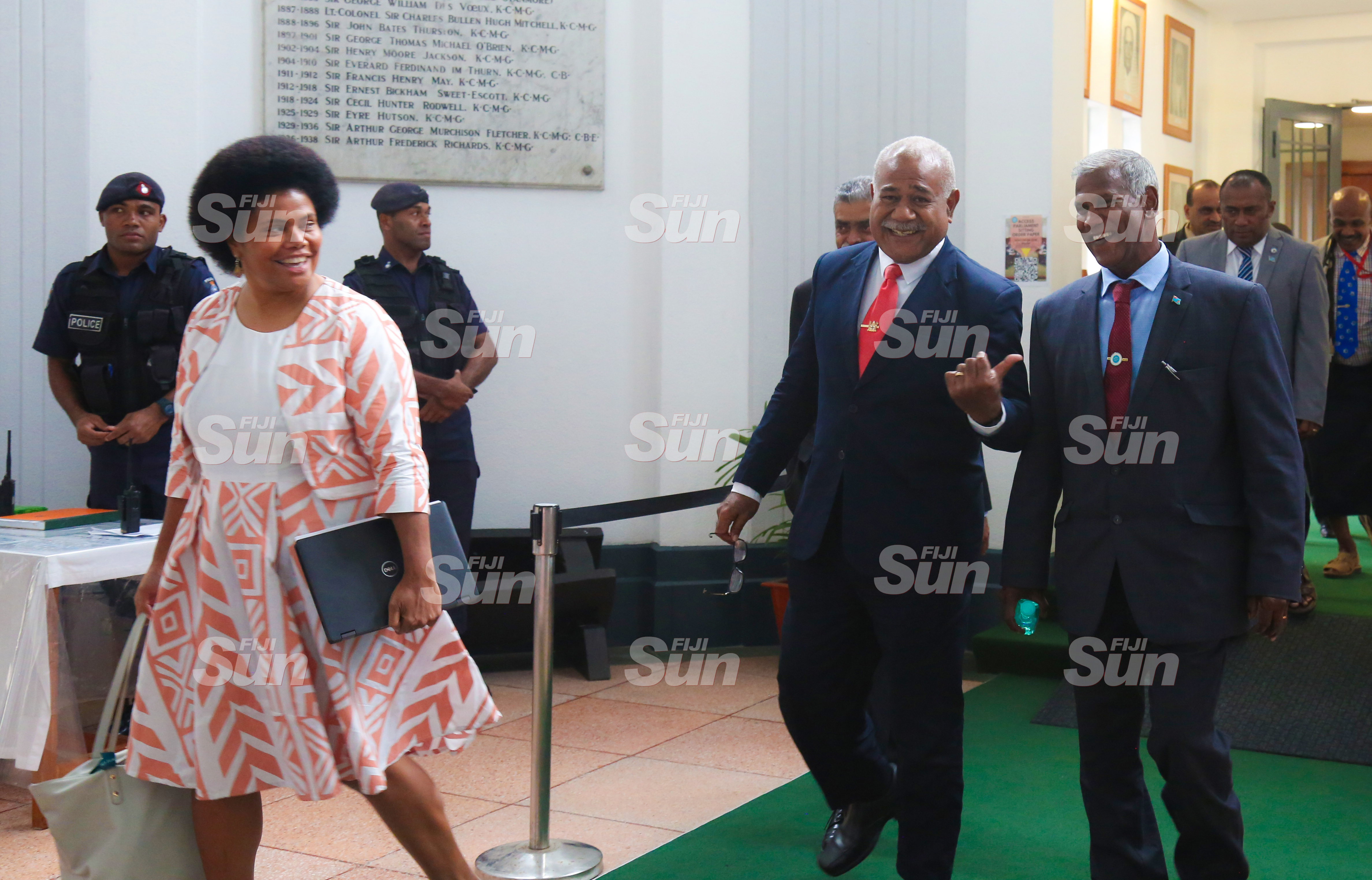 (From left)  Opposition members, Lenora Qereqeretabua,  Simione Rasova and Assistant Minister for Sugar Industry, George Vegnathan outside of Parliament on July 28, 2020. Photo: Kelera Sovasiga