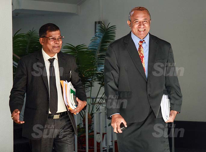 National Federation Party Leader, Professor Biman Prasad and SODELPA member, Ro Filipe Tuisawau on July 30, 2020. Photo: Kelera Sovasiga