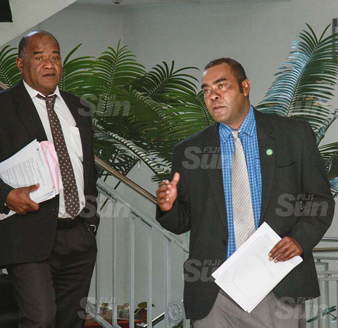 SODELPA Opposition members, Niko Nawaikula and Mosese Bulitavu on July 30, 2020. Photo: Kelera Sovasiga
