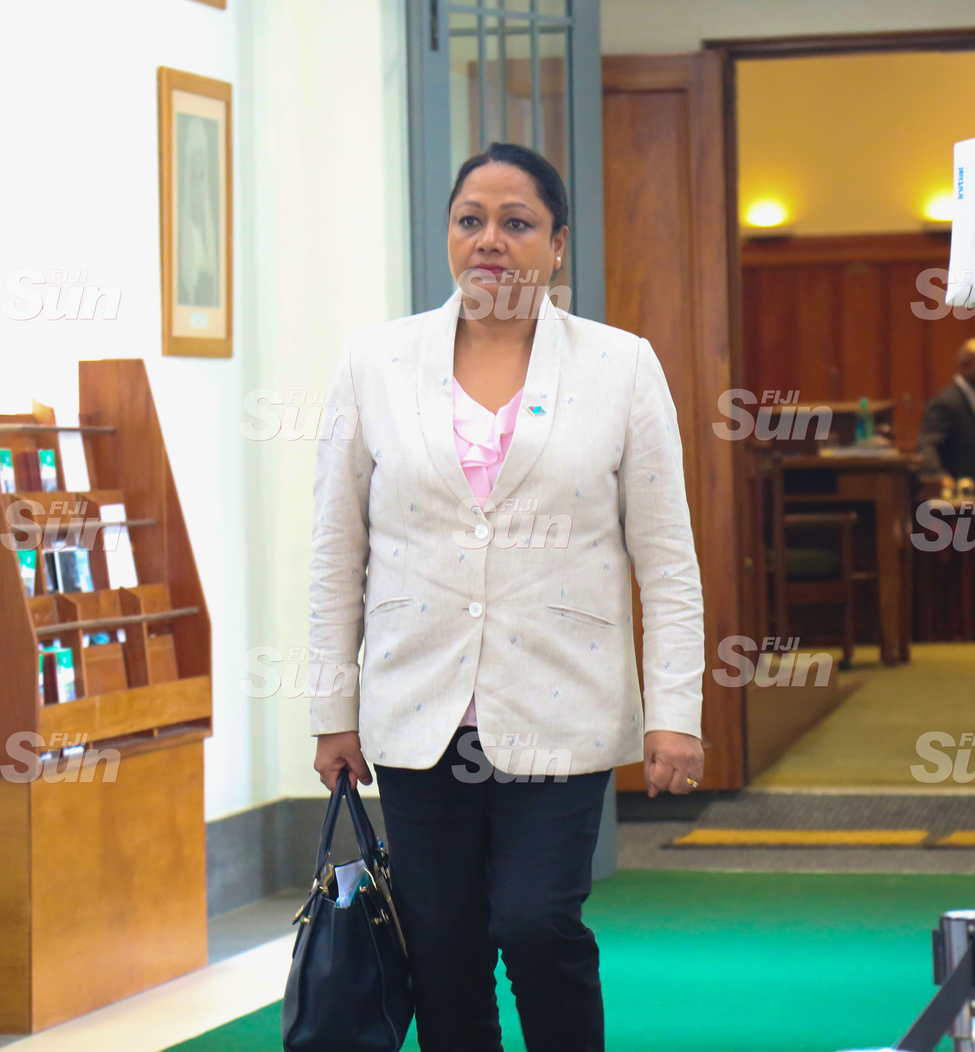 Minister for Local Government, Housing and Community Development, Premila Kumar outside of Parliament on July 28, 2020. Photo: Kelera Sovasiga