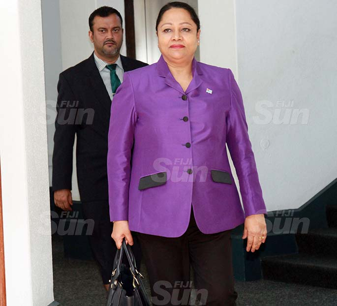Minister for Local Government, Housing and Community Development, Premila Kumar and Assistant Minister for Employment, Productivity and Industrial Relations, Alvick Maharaj on July 30, 2020. Photo: Kelera Sovasiga