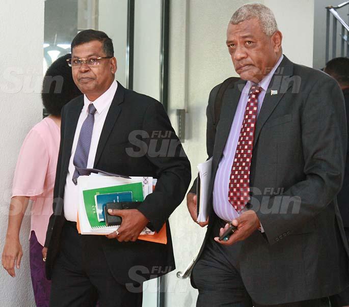 National Federation Party Leader, Professor Biman Prasad and NFP member, Pio Tikoduadua outside of Parliament on July 29, 2020. Photo: Kelera Sovasiga