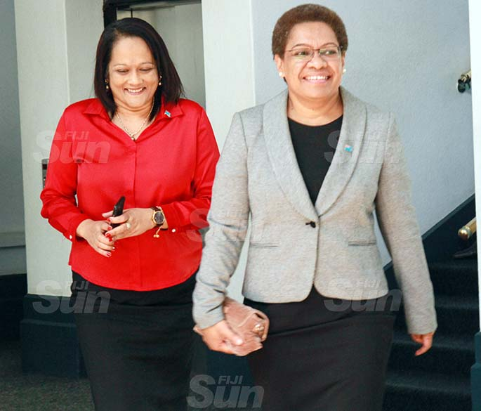 Minister for Education, Heritage and Arts, Rosy Akbar and Minister for Women, Children and Poverty Alleviation, Mereseini Vuniwaqa on July 31, 2020. Photo: Kelera Sovasiga