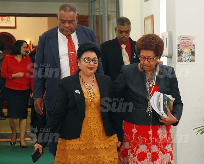 Assistant Minister for Women, Children and Poverty Alleviation, Veena Bhatnagar and SODELPA party member, Ro Teimumu Kepa on July 31, 2020. Photo: Kelera Sovasiga