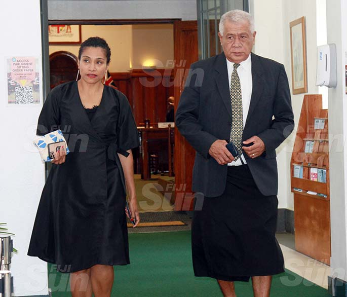 SODELPA Opposition members, Lynda Tabuya and Anare Jale on July 30, 2020. Photo: Kelera Sovasiga