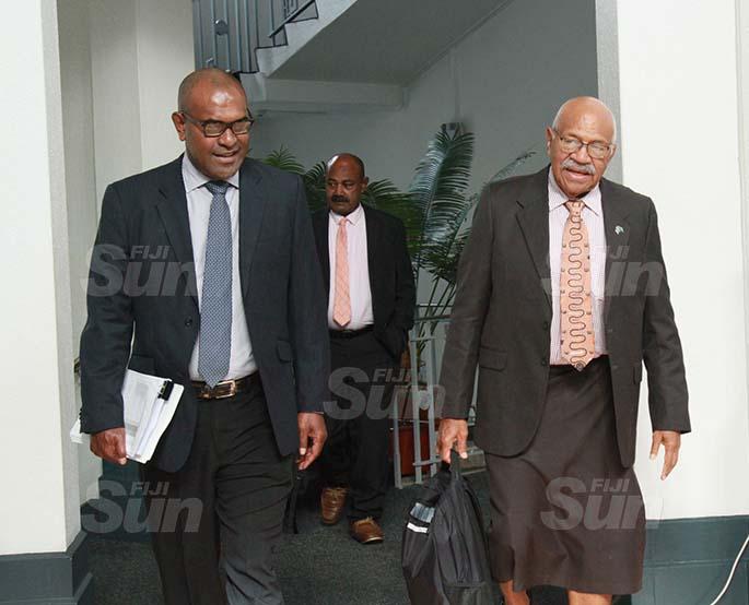 Opposition members,  Dr Ratu Atonio Lalabalavu and SODELPA Party Leader, Sitiveni Rabuka on July 30, 2020. Photo: Kelera Sovasiga