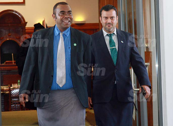 SODELPA Opposition members, Mosese Bulitavu and Assistant Minister for Employment, Productivity and Industrial Relations, Alvick Maharaj  on July 30, 2020. Photo: Kelera Sovasiga