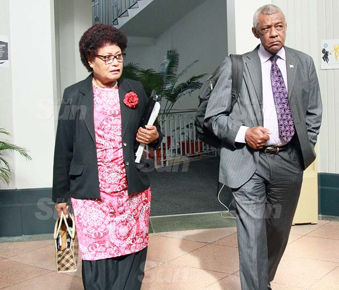 Opposition members,  Salote Radrodro and Pio Tikoduadua on July 30, 2020. Photo: Kelera Sovasiga