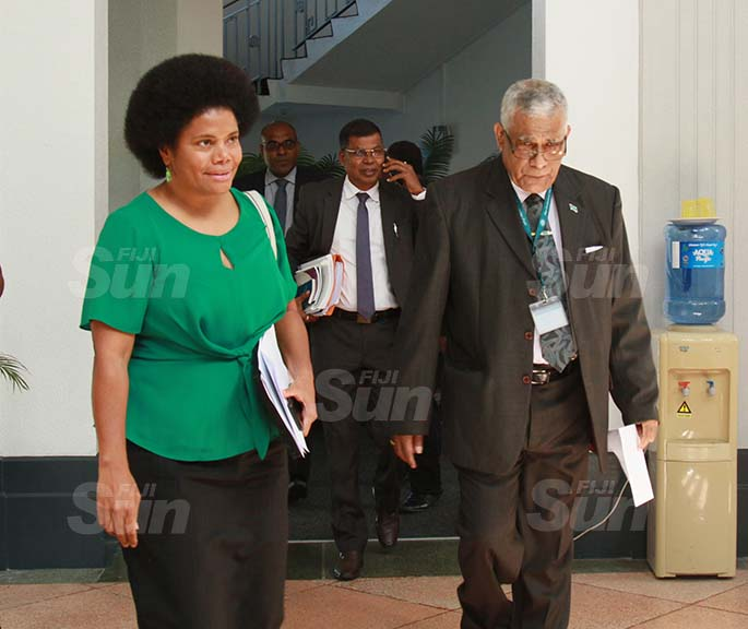 National Federation Party member, Lenora Qereqeretabua with SODELPA Party member, Ratu Naiqama Lalabalavu on July 30, 2020. Photo: Kelera Sovasiga