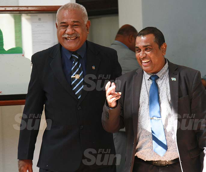 SODELPA Opposition member, Simione Rasova and Assistant Minister for Education, Heritage and Arts, Joseph Nand  on July 30, 2020. Photo: Kelera Sovasiga