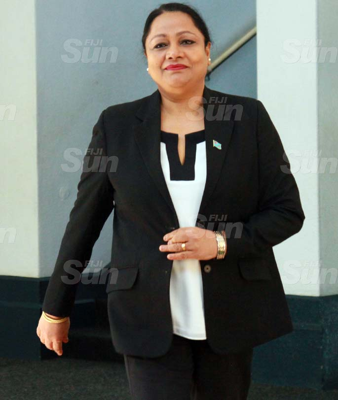 Minister for Local Government, Housing and Community Development, Premila Kumar  outside of Parliament on July 29, 2020. Photo: Kelera Sovasiga