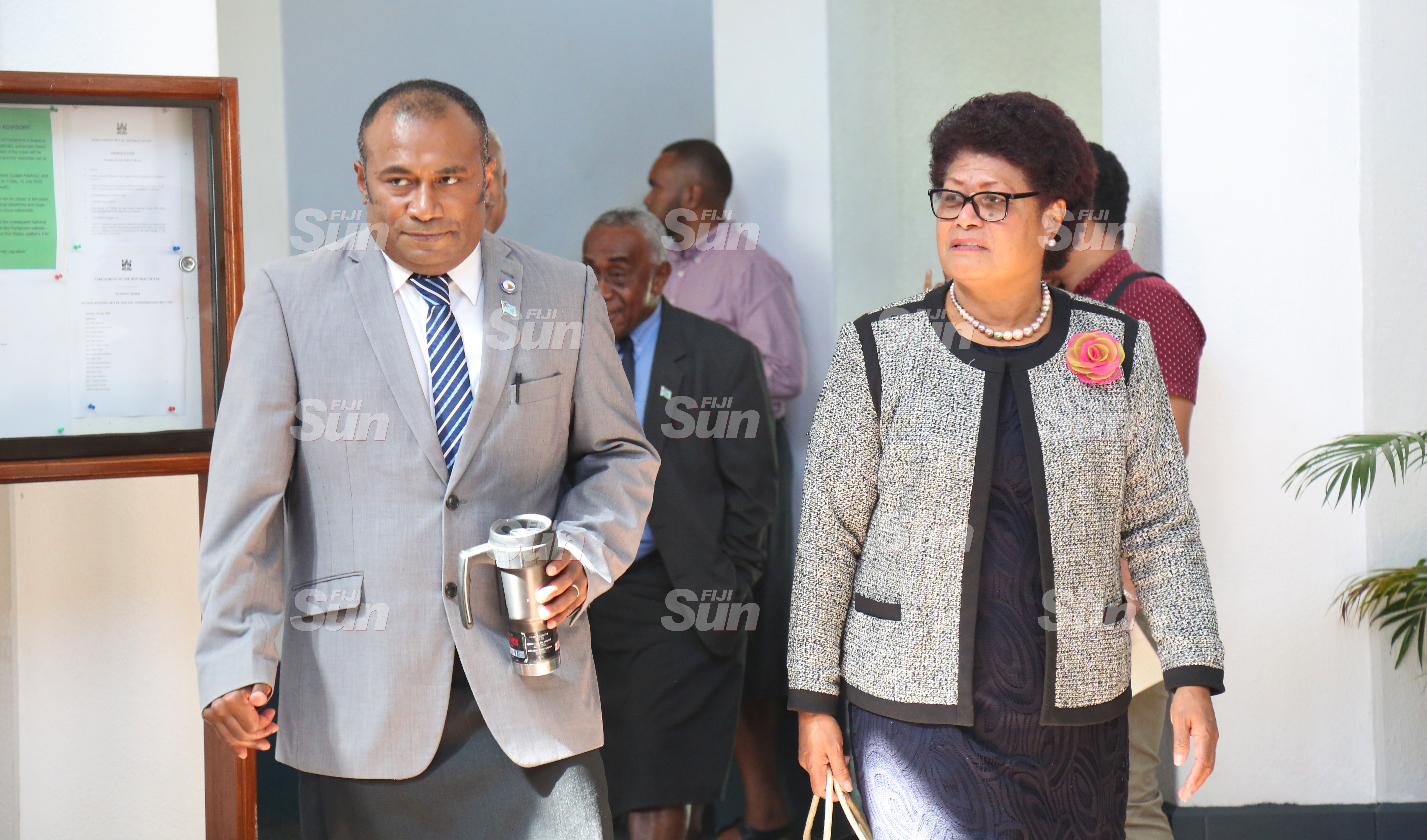 Minister for Health and Medical Services, Dr Ifereimi Waqainabete and Opposition member, Salote Radrodro outside of Parliament on July 28, 2020. Photo: Kelera Sovasiga