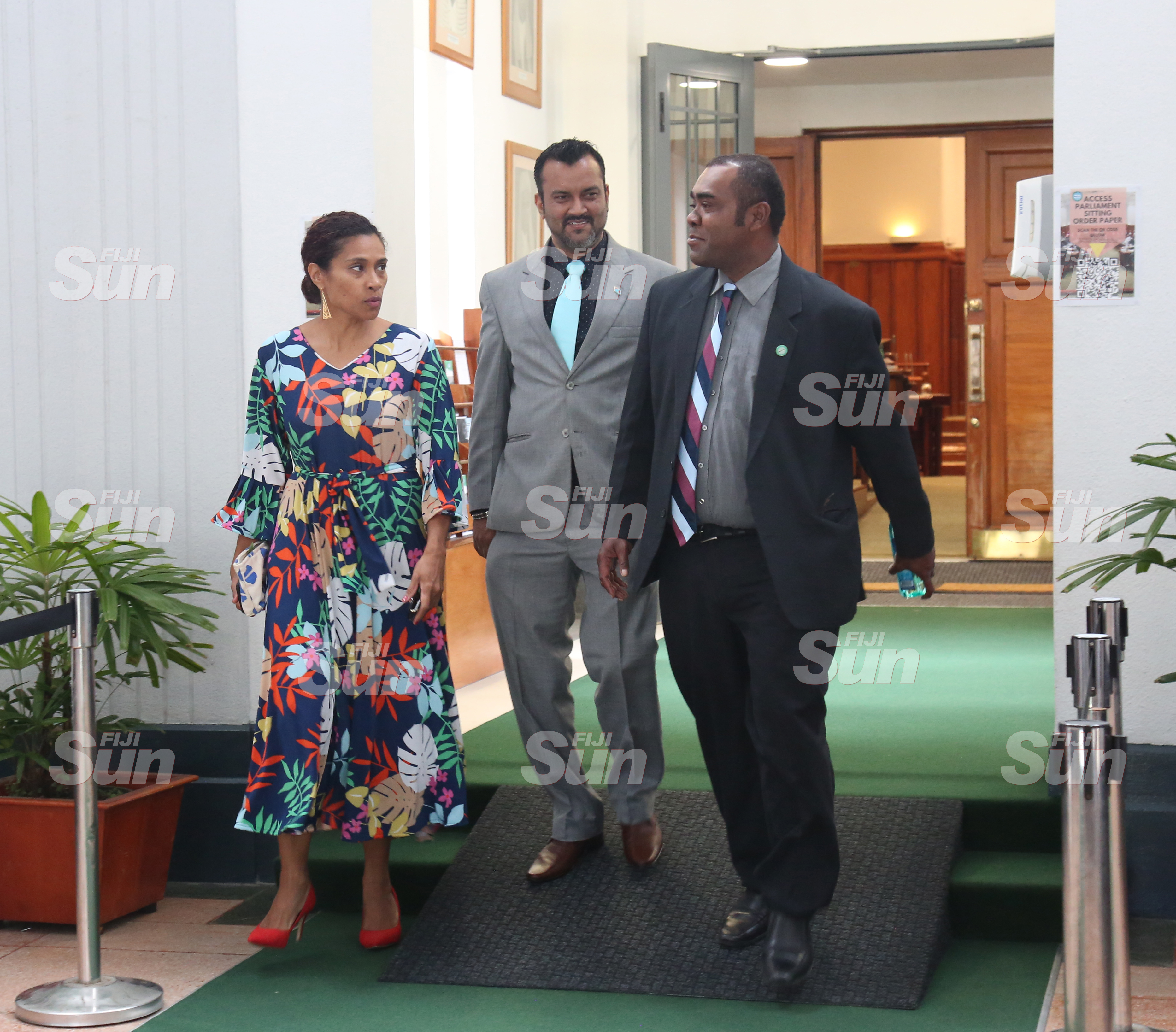 (From left) SODELPA whip, Lynda Tabuya, Assistant Minister for Employment, Productivity and Industrial Relations, Alvick Maharaj, and Opposition member Mosese Bulitavu outside of Parliament on July 28, 2020. Photo: Kelera Sovasiga