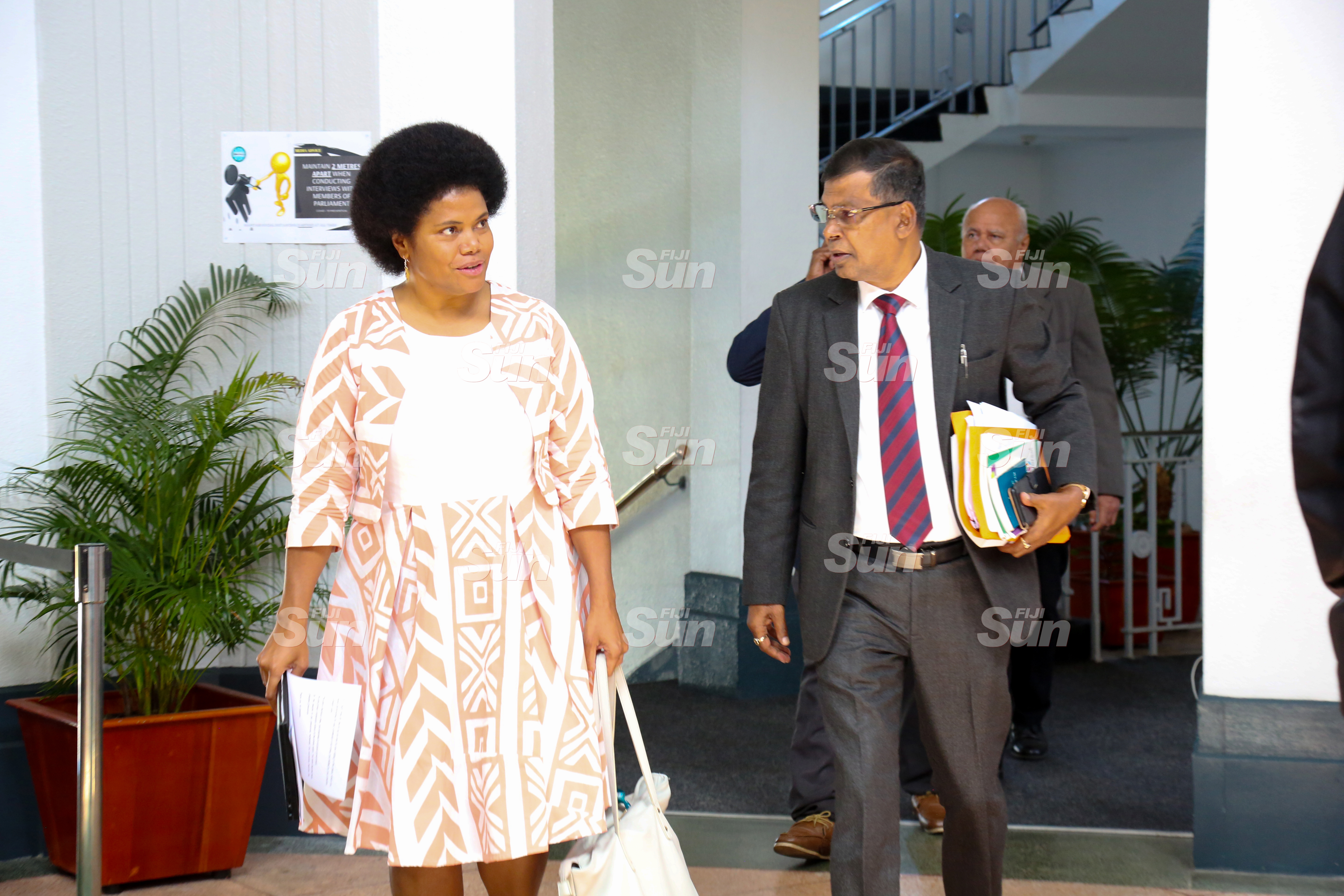 Opposition members, Lenora Qereqeretabua and Dr Biman Prasad outside of Parliament on July 28, 2020. Photo: Kelera Sovasiga