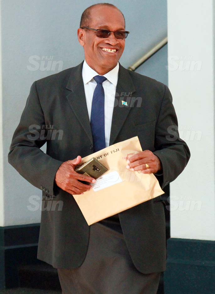 Minister for Infrastructure and Meteorological Services and Minister for Lands and Mineral Resources, Jone Usamate outside of Parliament on July 29, 2020. Photo: Kelera Sovasiga