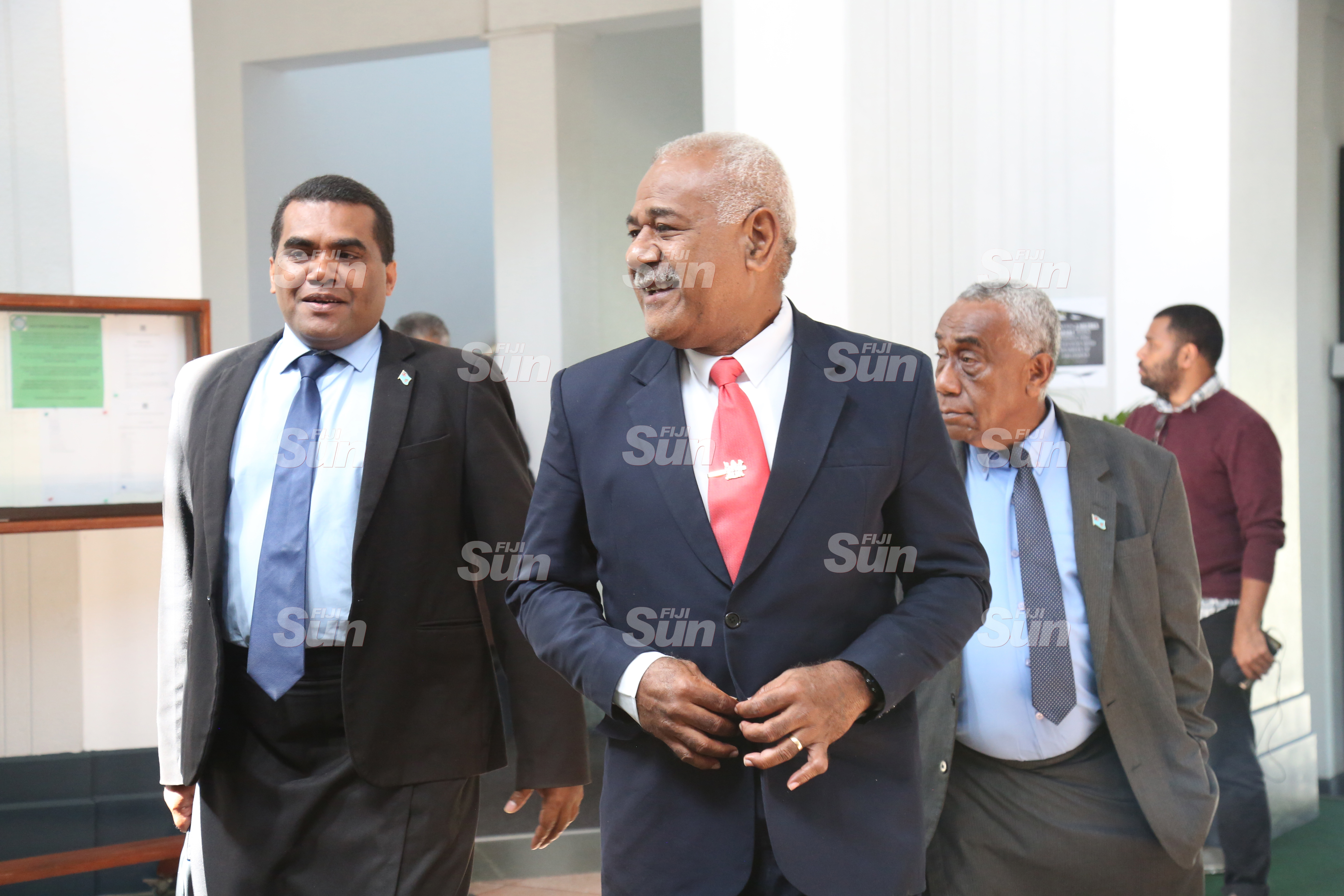 (From left) Assistant Minister for Youth and Sports, Alipate Nagata, Opposition member Simione Rasova and Assistant Minister for Ministry of Rural and Maritime Development, Jale Sigarara outside of Parliament on July 28, 2020. Photo: Kelera Sovasiga