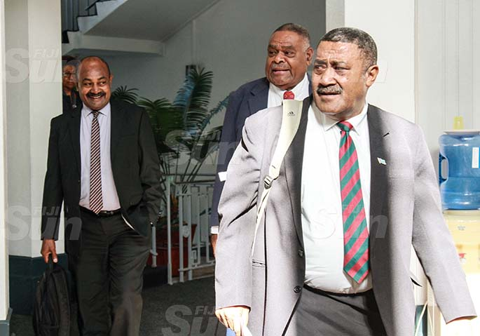 (From left) SODELPA Opposition members, Inosi Kuridrani,  Mikaele Leawere and Ratu Suliano Matanitobua on July 30, 2020. Photo: Kelera Sovasiga