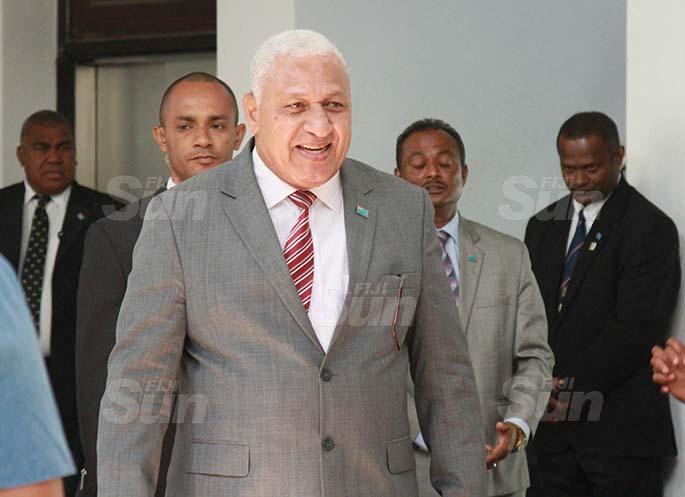 Prime Minister, Voreqe Bainimarama outside of Parliament on July 29, 2020. Photo: Kelera Sovasiga