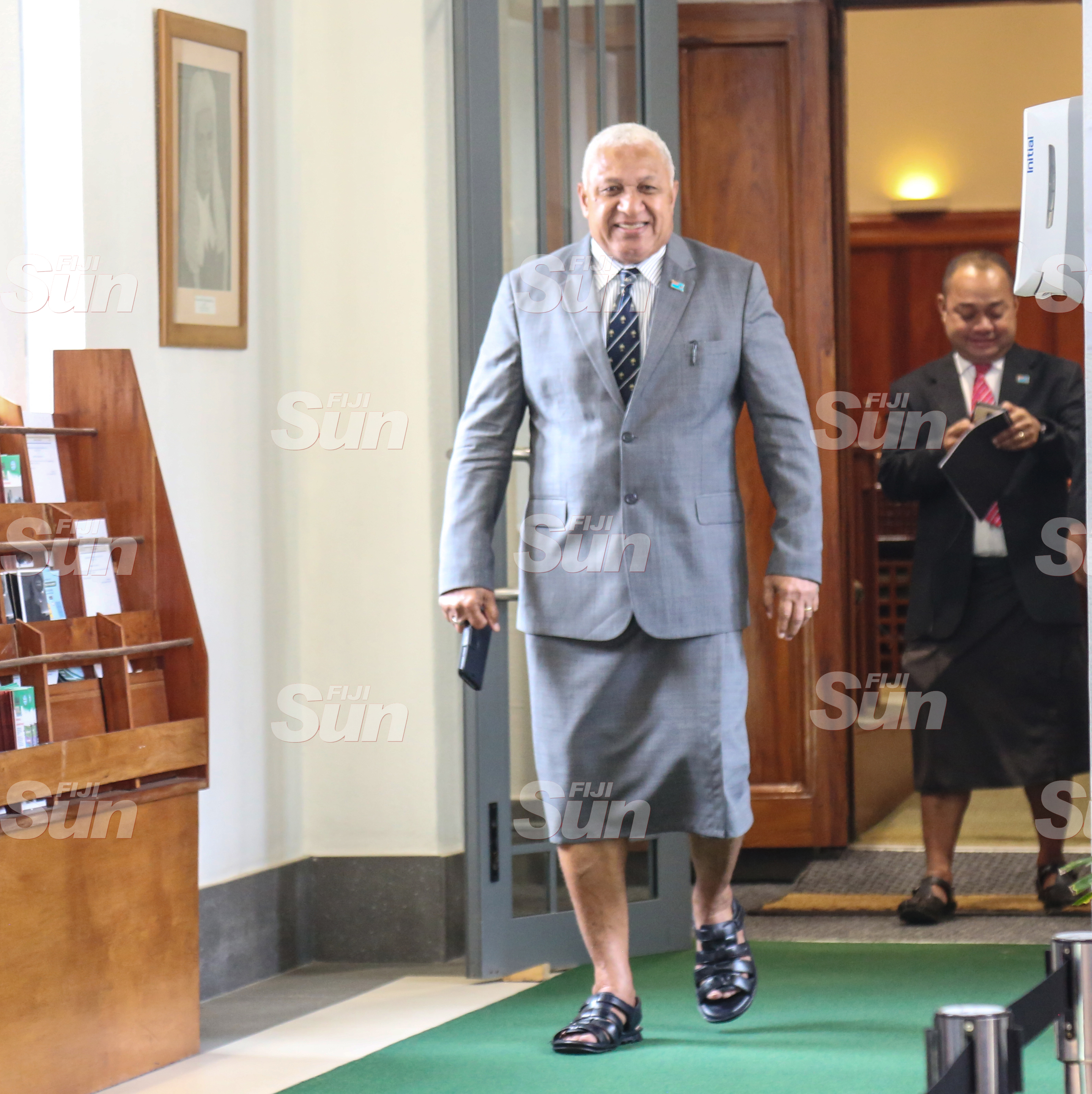 Prime Minister Voreqe Bainimarama outside of Parliament on July 28, 2020. Photo: Kelera Sovasiga