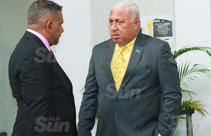 Prime Minister Voreqe Bainimarama with Minister for Commerce, Trade, Tourism and Transport, Faiyaz Koya on July 30, 2020. Photo: Kelera Sovasiga