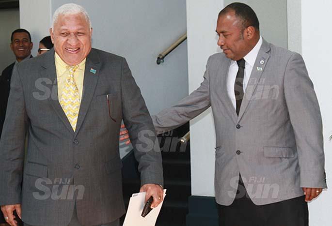 Prime Minister Voreqe Bainimarama with Minister for Health and Medical Services, Dr Ifereimi Waqainabete on July 30, 2020. Photo: Kelera Sovasiga