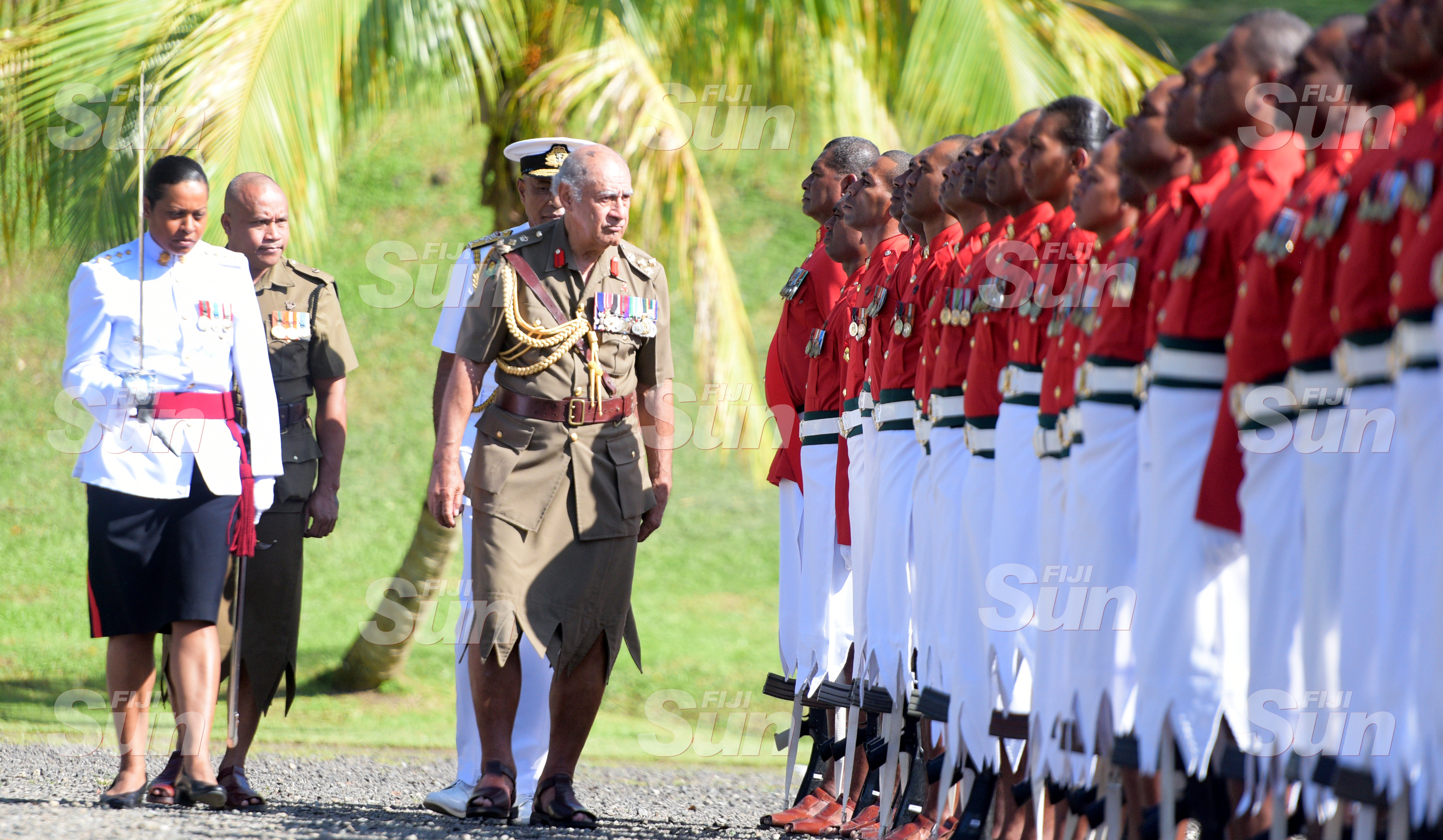 Brigadier General (Retired) Ratu Epeli Nailatikau inspect the 50 men regimental guard of honour at Queen Elizabeth Barracks during inauguration of the Colonel of the Regiment on July 21, 2020. Photo: Ronald Kumar.