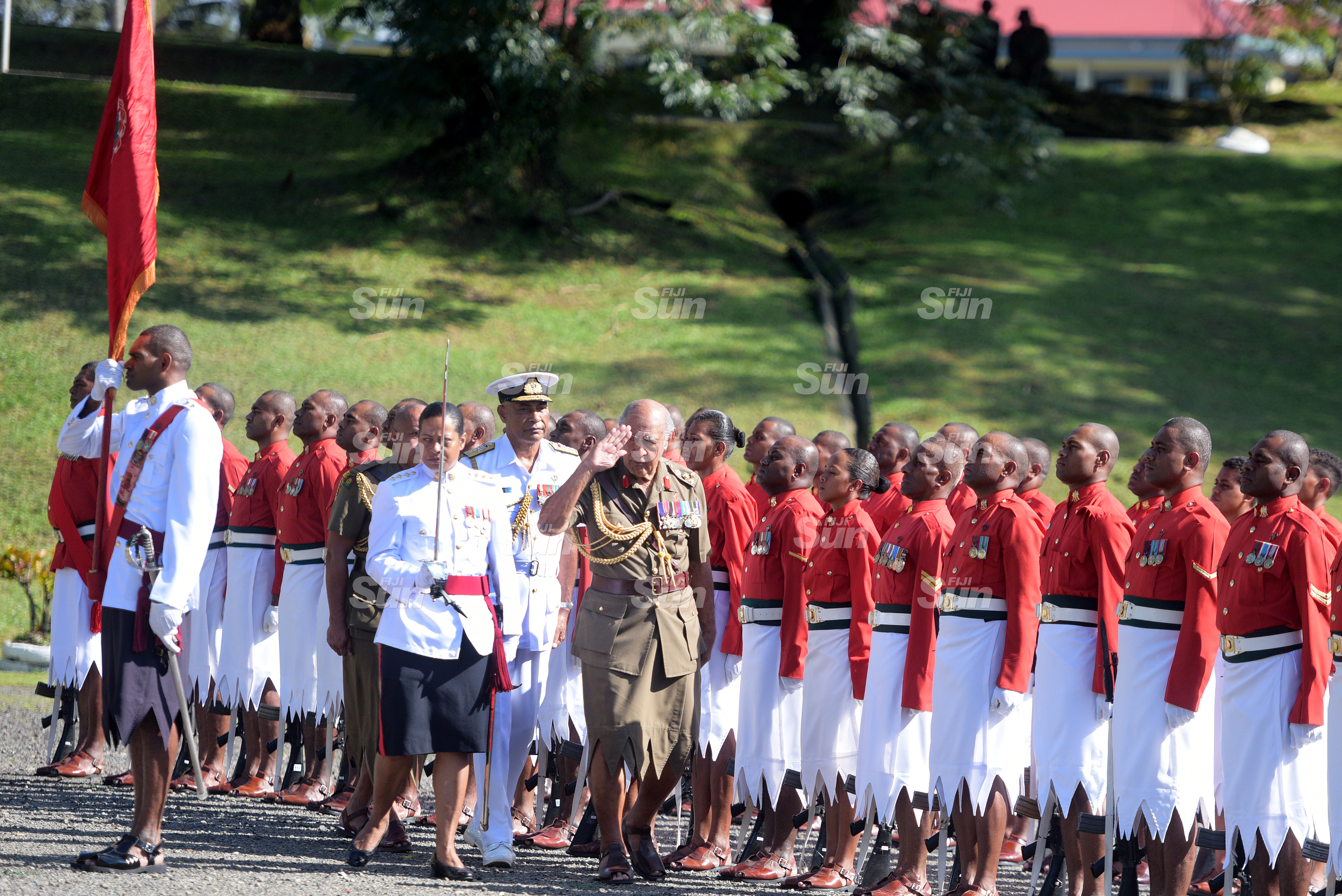 Brigadier General (Retired) Ratu Epeli Nailatikau salutes to the Colours as he inspected the 50 men regimental guard of honour at Queen Elizabeth Barracks during inauguration of the Colonel of the Regiment on July 21, 2020. Photo: Ronald Kumar.