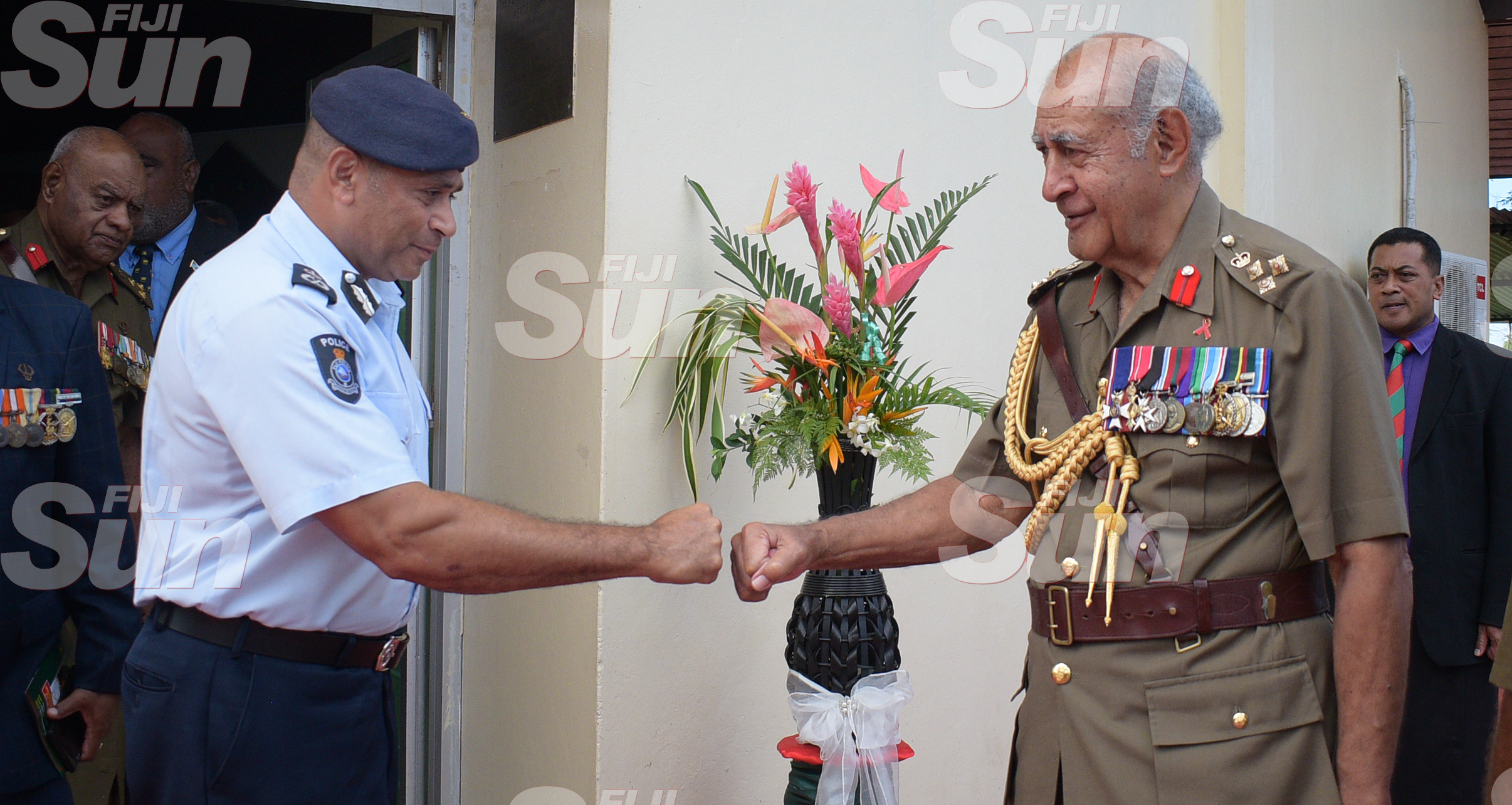 Police Commissioner Sitiveni Qiliho congratulates Brigadier General (Retired) Ratu Epeli Nailatikau on his appointment Colonel of the Regiment at QEB Church on July 21, 2020. Photo: Ronald Kumar.