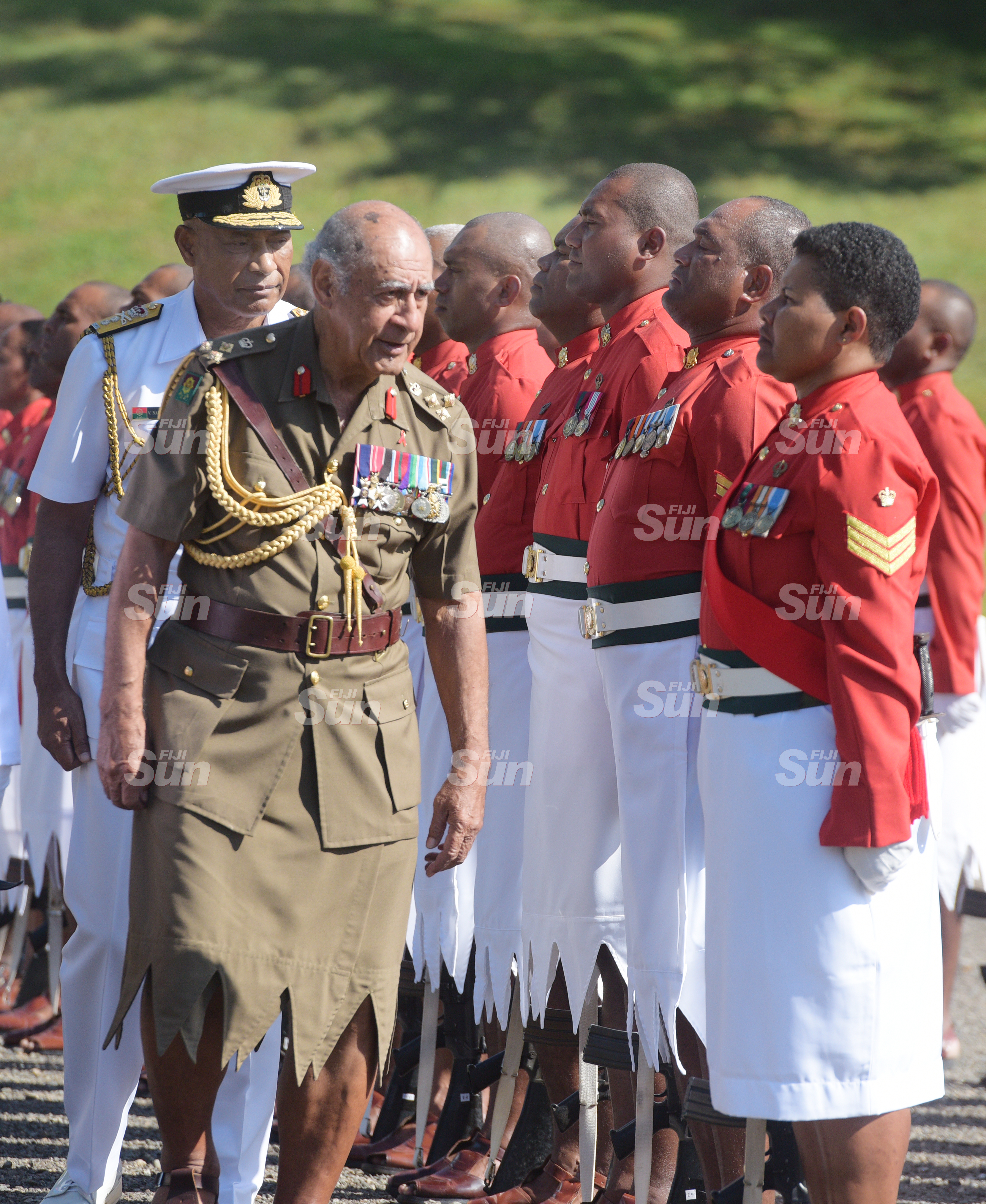 Brigadier General (Retired) Ratu Epeli Nailatikau to inspect the 50 men regimental guard of honour at Queen Elizabeth Barracks during inauguration of the Colonel of the Regiment on July 21, 2020. Photo: Ronald Kumar.