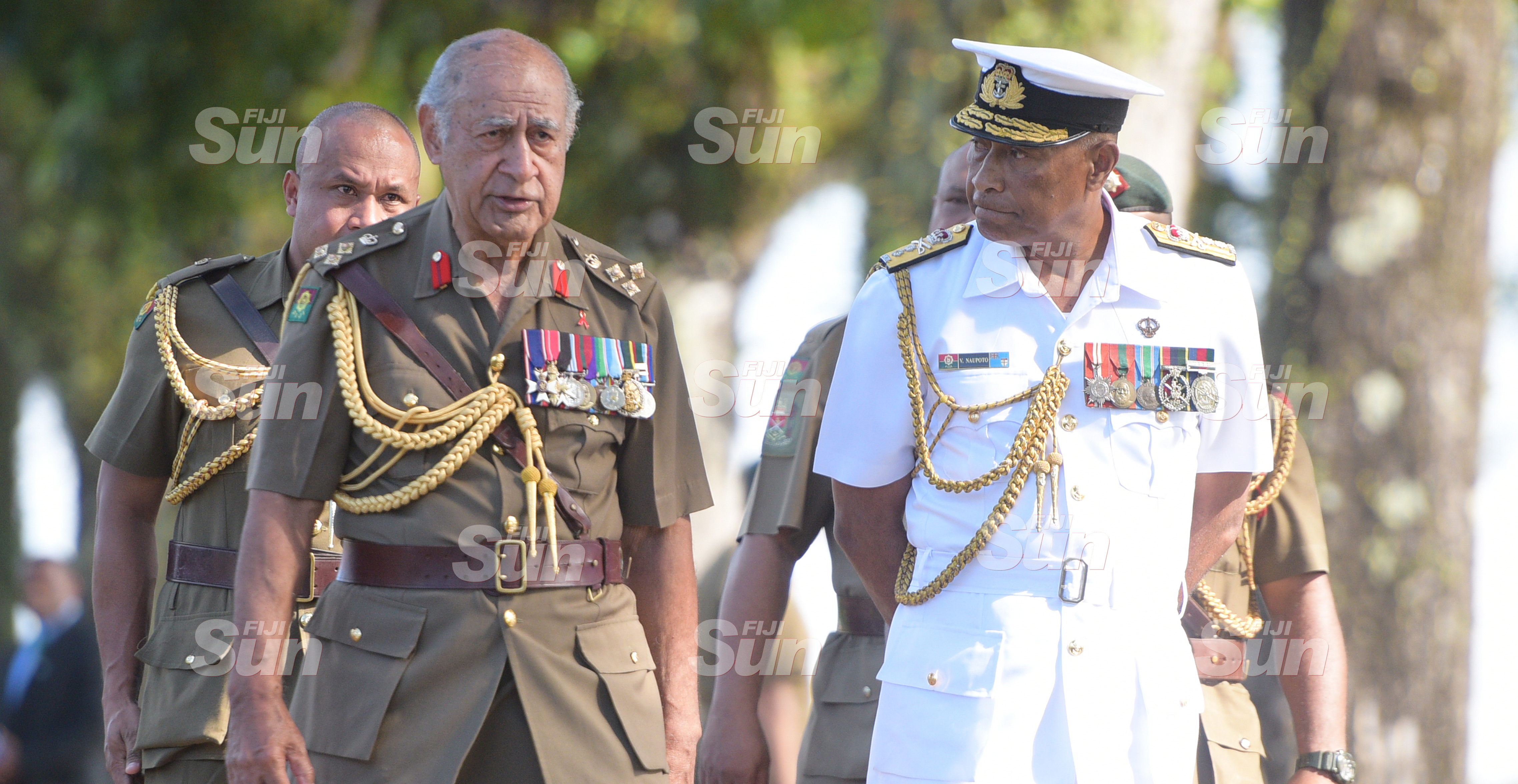 Brigadier General (Retired) Ratu Epeli Nailatikau (left) and RFMF Commander Rear Admiral Viliame Naupoto following the inauguration of the Colonel of the Regiment guard of honour parade on July 21, 2020. Photo: Ronald Kumar.