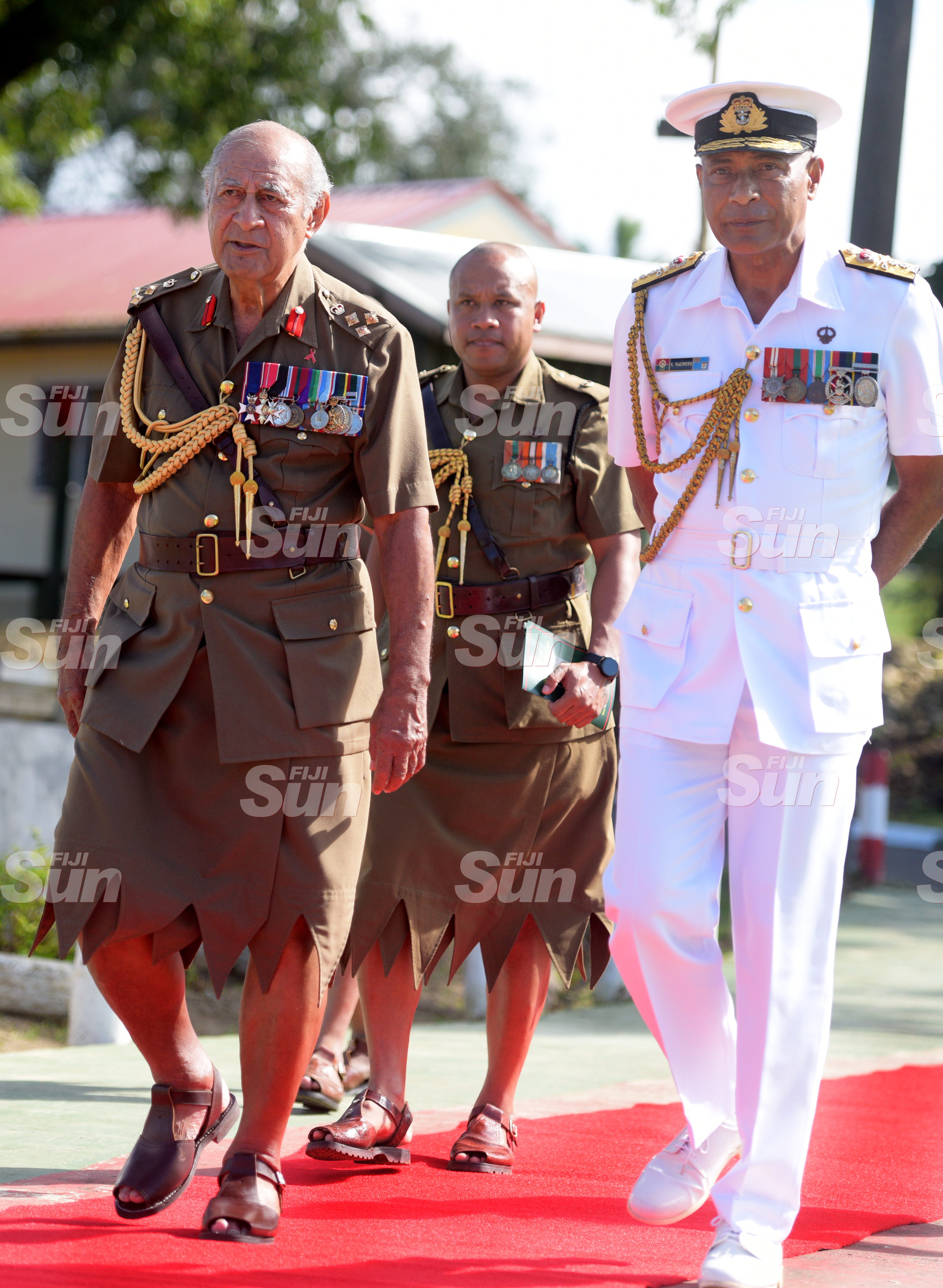 Brigadier General (Retired) Ratu Epeli Nailatikau and RFMF Commander Rear Admiral Viliame Naupoto following the inauguration of the Colonel of the Regiment parade on July 21, 2020. Photo: Ronald Kumar.