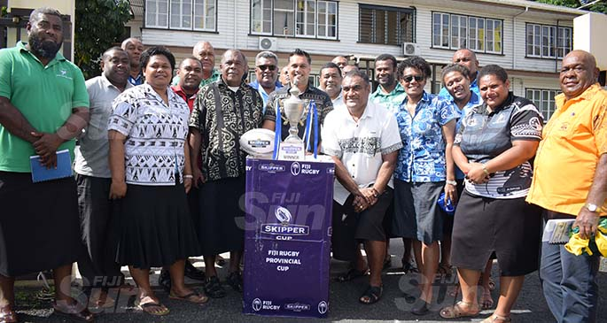 CJ Patel Group of Companies, Group Marketing Manager Ashwin Prasad and Fiji Rugby Union Development Manager Sale Sorovaki (middle) with representatives of diffrent rugby union clubs during the launching of Skipper Cup on July 16, 2020. Photo: Ronald Kumar.