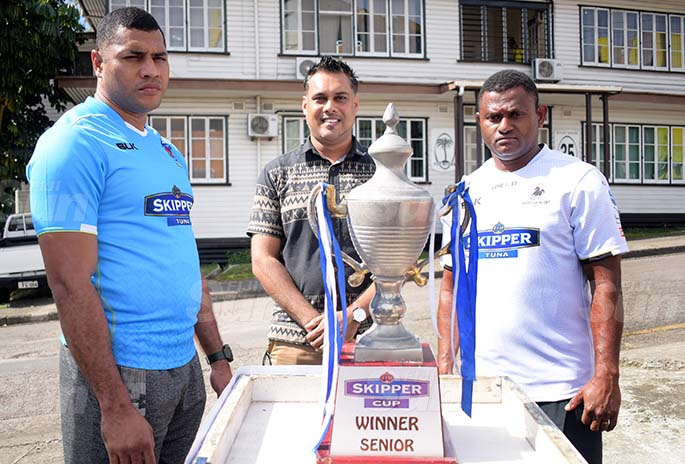 From left-John Stewart of Suva Rugby, CJ Patel Group of Companies, Group Marketing Manager Ashwin Prasad and Nadroga ManagerPlayer Semi Cabenalotu during the Skipper Cup launching on July 16, 2020. Photo: Ronald Kumar.