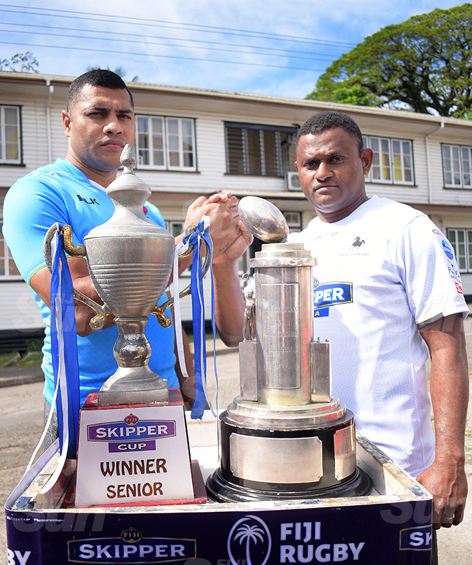 Challenge accepted…John Stewart of Suva Rugby and Nadroga ManagerPlayer Semi Cabenalotu with Skipper Cup and Farebrother trophy during the Skipper Cup launching on July 16, 2020. Photo: Ronald Kumar.