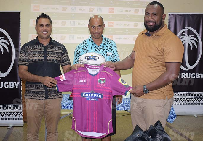 From left-CJ Patel Group of Companies, Group Marketing Manager Ashwin Prasad handed over the Lautoka jersey to Lautoka rugby union representatives Joseph Sukuri and Jese Gade during the during the Skipper Cup launching on July 16, 2020. Photo: Ronald Kumar.