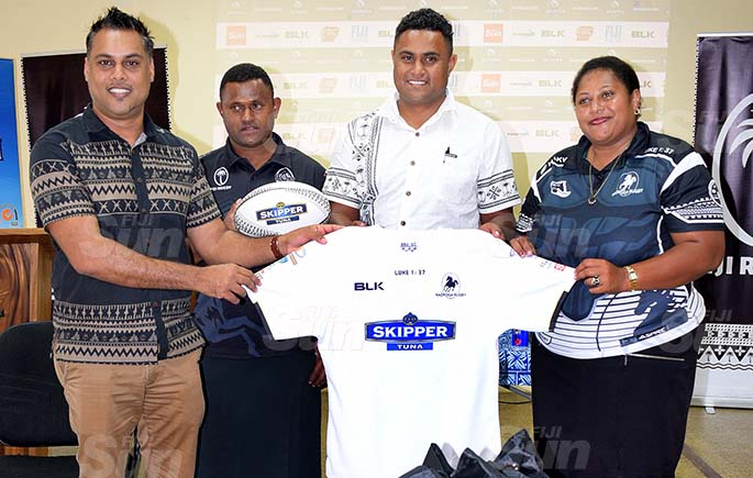 From left-CJ Patel Group of Companies, Group Marketing Manager Ashwin Prasad handed over the Nadroga jersey to Nadroga rugby union representatives Semi Cabenalotu, Emmanuel Fonmanu and Selita Donu during the Skipper Cup launching on July 16, 2020. Photo: Ronald Kumar.