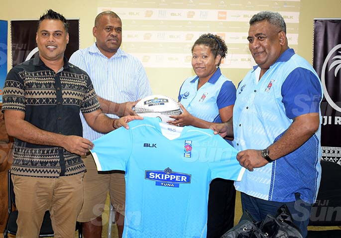 From left-CJ Patel Group of Companies, Group Marketing Manager Ashwin Prasad handed over the Suva jersey to Suva rugby union representatives Malakai Tueli, Talei Turaganivalu and Nemani Tuifagalele during the Skipper Cup launching on July 16, 2020. Photo: Ronald Kumar.
