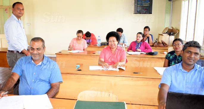 Suva Primary School Head Teacher, Brij Singh (left) with  teachers as they prepare for school opening next week on June 29, 2020. Photo: Ronald Kumar.