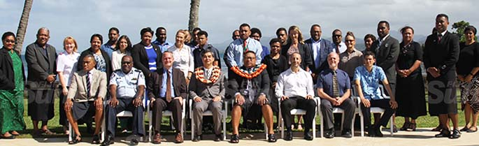 Head of the EU Delegation to the Pacific, Sujiro Seam (sitting fourth from left), Permanent Secretary Defence, National Security and Policing, Manasa Lesuma (sitting fifth from left) with participants of the United Nations World Day Againist Trafficking in Persons at the Holiday Inn on July 30, 2020. Photo: Kelera Sovasiga