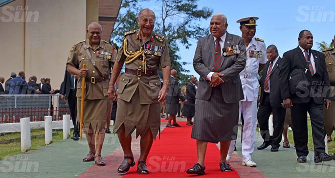 Brigadier-General Ratu Epeli Nailatikau (front/left), with Prime Minister Voreqe Bainimarama at the Queen Elizabeth Barracks in Nabua on July 21, 2020. Photo: Office of the Prime Minister