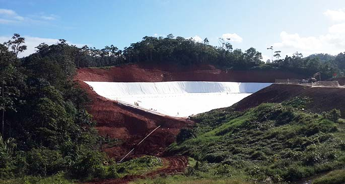 The construction of the new pit at Naboro landfill.